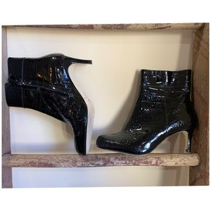 Kate Spade Patent Alligator Ankle Boots
